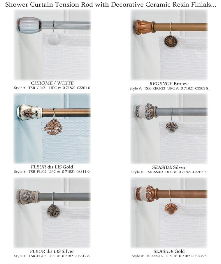 Shower Curtain Tension Rods With Decorative Finials.