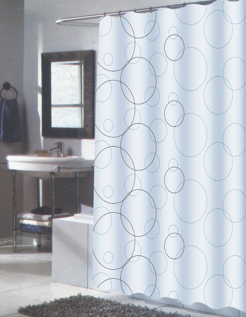 Carnation Home Fashions Inc Extra Long Fabric Shower Curtains Size 70 W X 84 L
