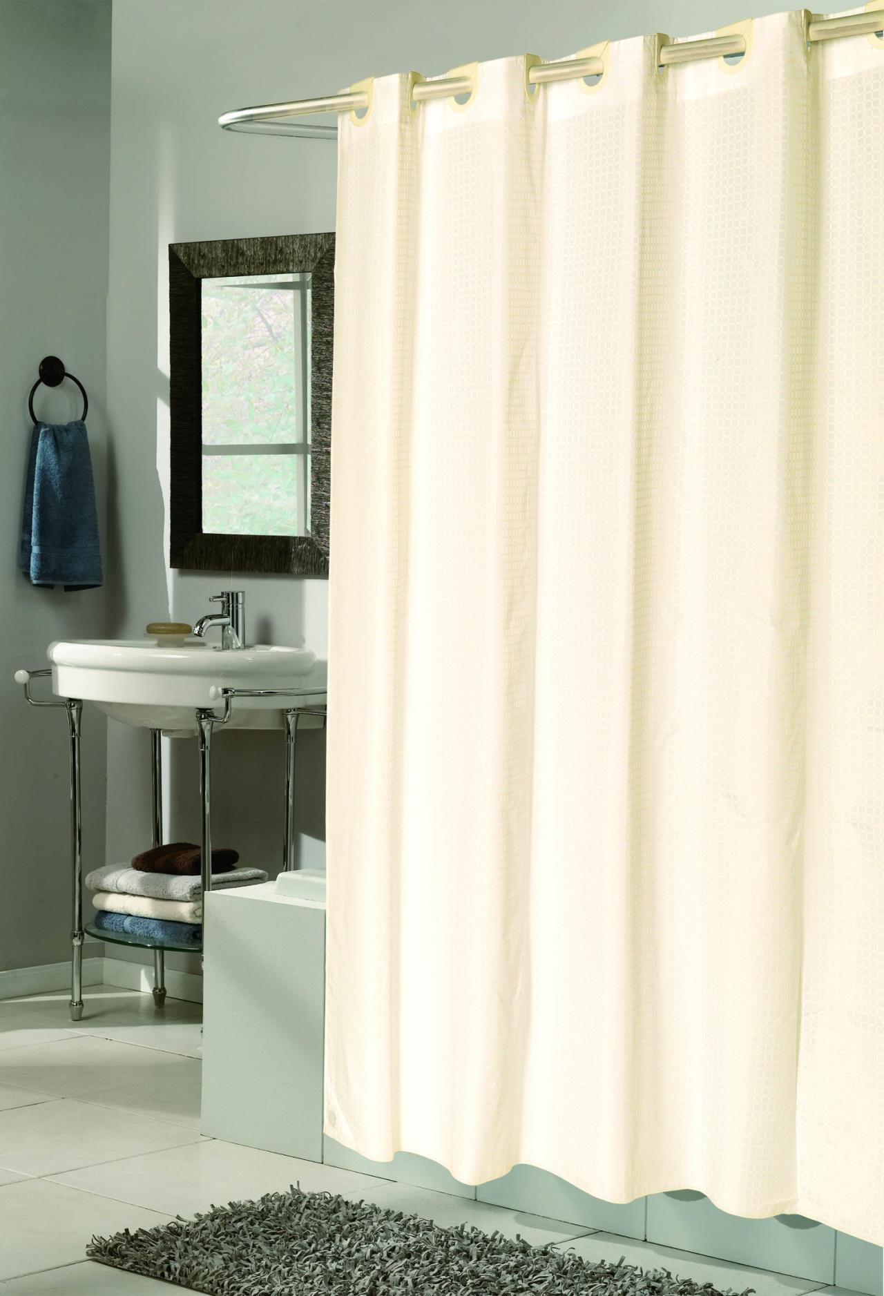 Polyester Fabric Shower Curtain Liner In White 78
