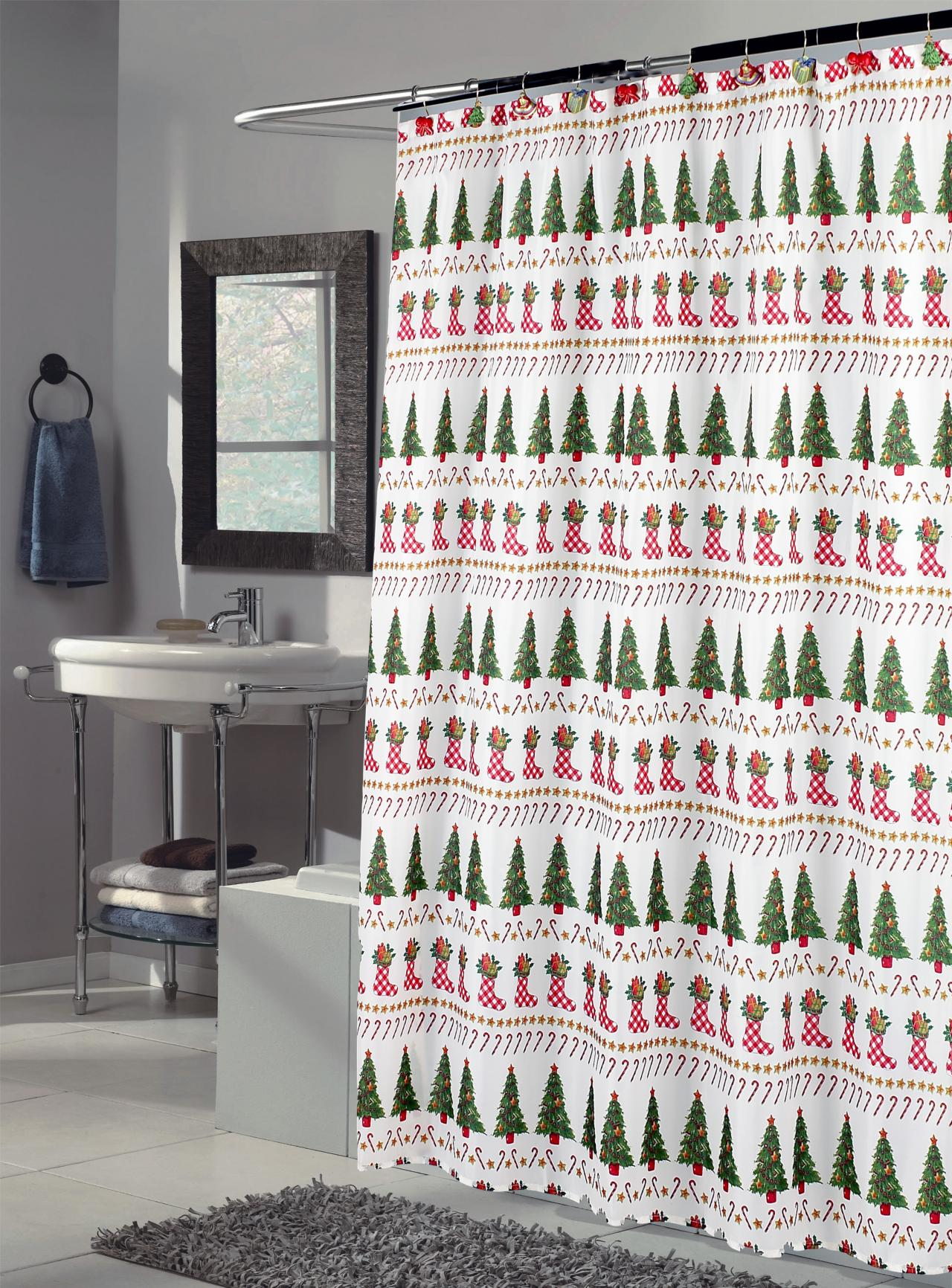 Holiday Shower Curtains Christmas KH Design - Shower curtains for bathroom