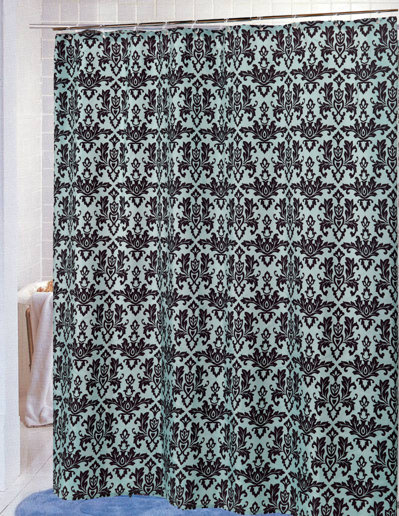 Good Damask Fabric Shower Curtain, Brown Blue ...