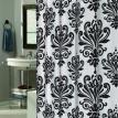 """Beacon Hill"" Black & White  ""EZ On"" No Hooks Needed !  Fabric Shower Curtain"