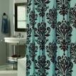 """Beacon Hill"" Chocolate & Blue  ""EZ On"" No Hooks Needed !  Fabric Shower Curtain"