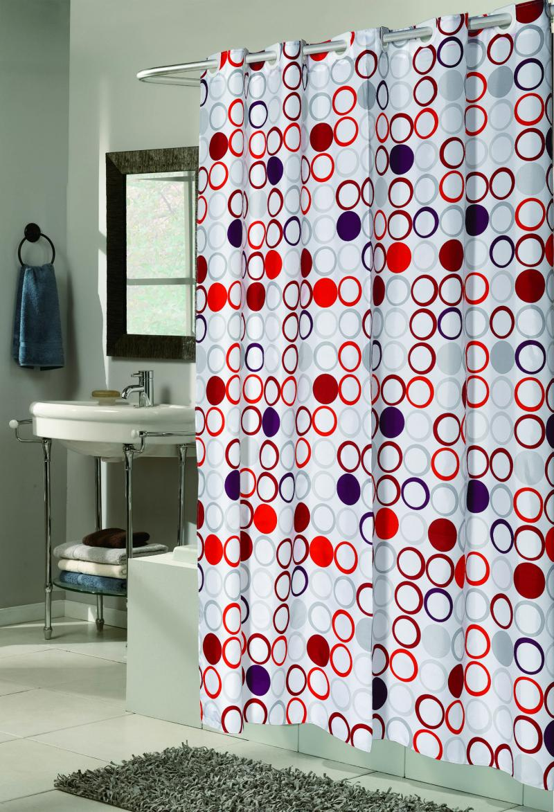 """EZ On"" No Hooks Needed !  Shower Curtain Collection"