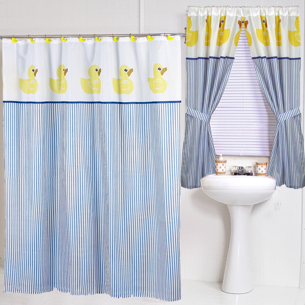 Ducky  Fabric Shower Curtain     Carnation Home Fashions  Inc   Fabric Shower Curtains. Blue And Yellow Shower Curtain. Home Design Ideas