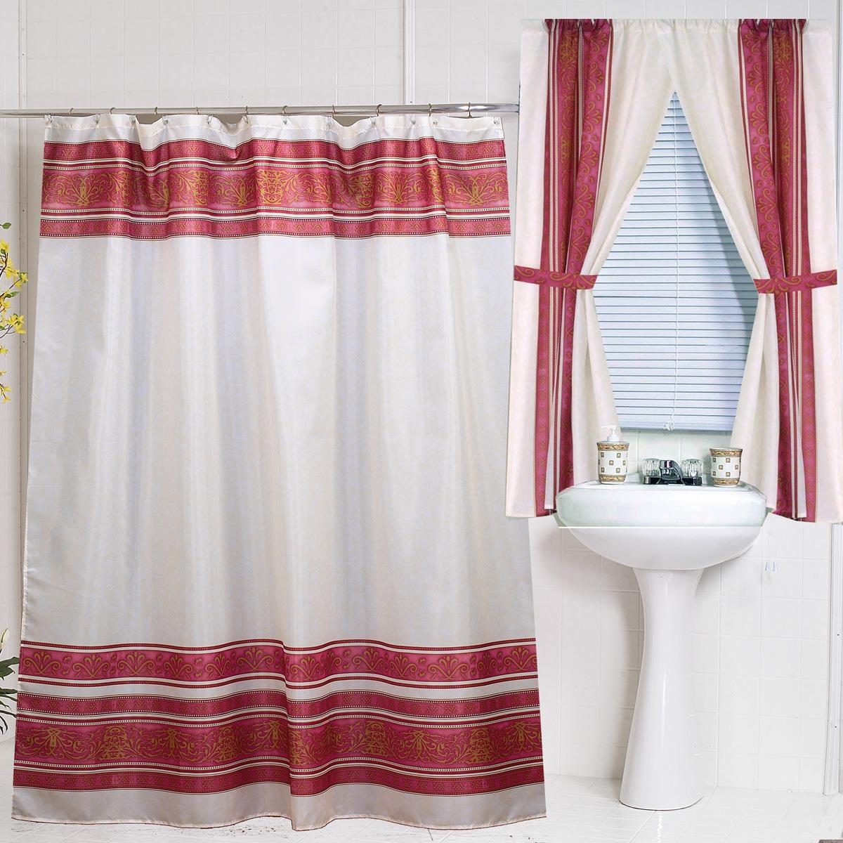 BURGUNDY SHOWER CURTAINS Curtains Blinds