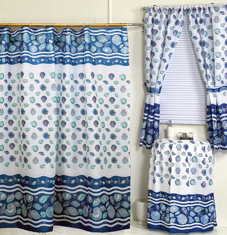 South Beach Blue Fabric Shower Curtain