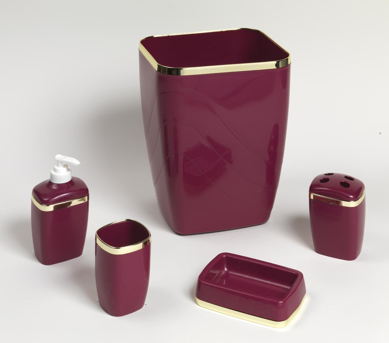 Beautiful ... 5 Piece Plastic Bath Accessory Set, Burgundy ...