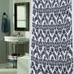 "Flocked Shower Curtain, ""Regal"" White / Black"