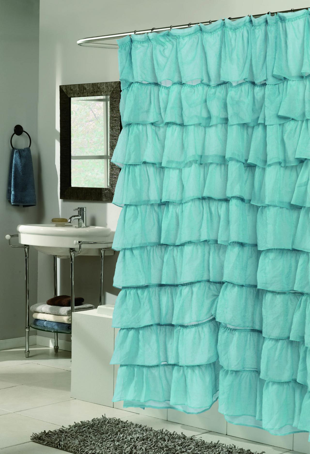 Teal And Brown Shower Curtain Tier shower curtains . ""