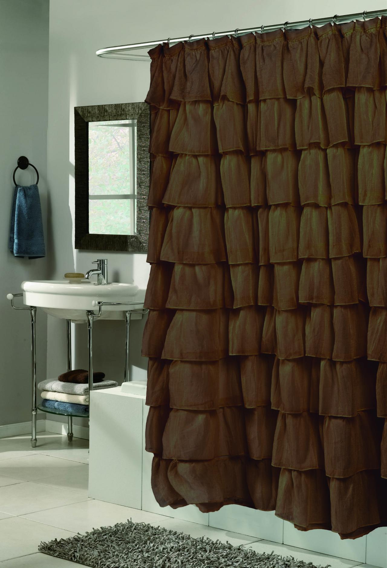 Carnation Home Fashions Inc Carmen Crushed Voile Ruffled Tier Shower Curtains