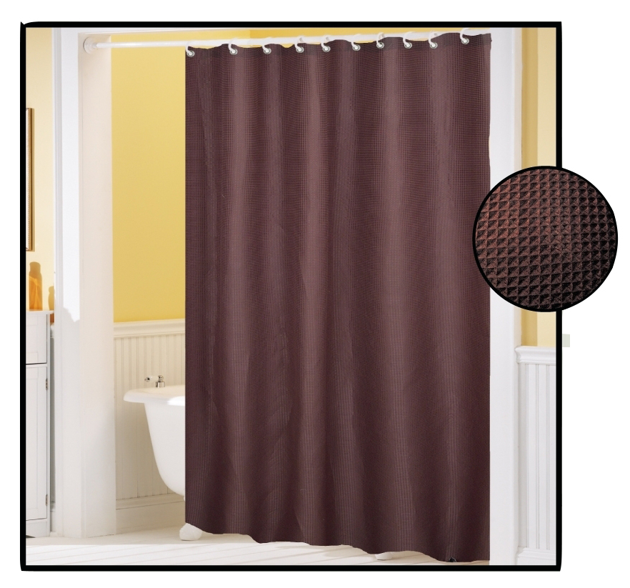waffle weave fabric shower curtain brown