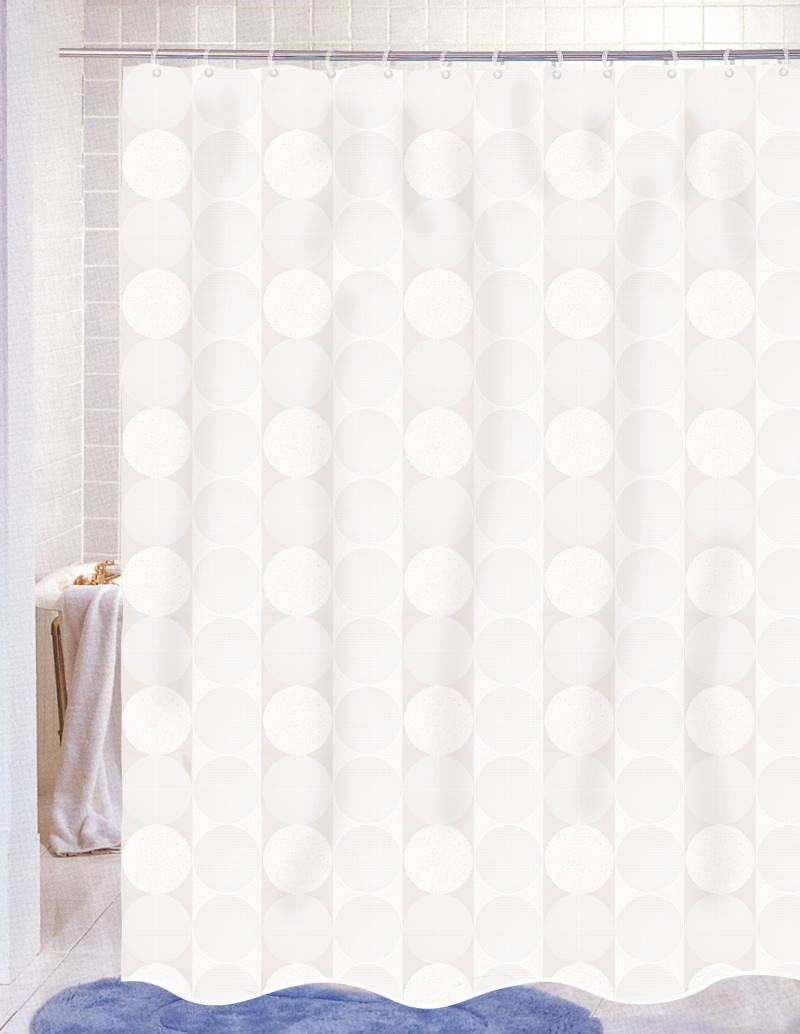 Carnation Home Fashions Inc Jacquard Circles Fabric Shower Curtains